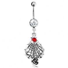 Piercing do bříška z oceli 316L, červený zirkon, pavučina s lebkami a s růží