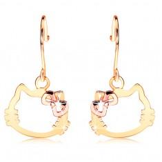 Náušnice ze 14K zlata - kontura hlavy kočky s mašlí z růžového zlata GG106.03