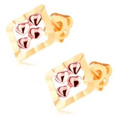 Dvoubarevné náušnice ve 14K zlatě - obrys kosočtverce, čtyři drobná srdíčka GG106.15