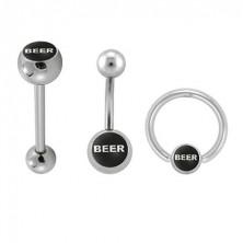 Sada piercingů - logo BEER