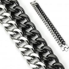 Mohutný náramek z oceli - dva řetězy, černo-stříbrné barevné provedení
