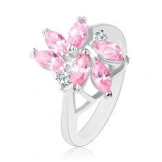Prsten zdobený broušenými zrnky růžové barvy, dva kulaté čiré zirkony R33.29