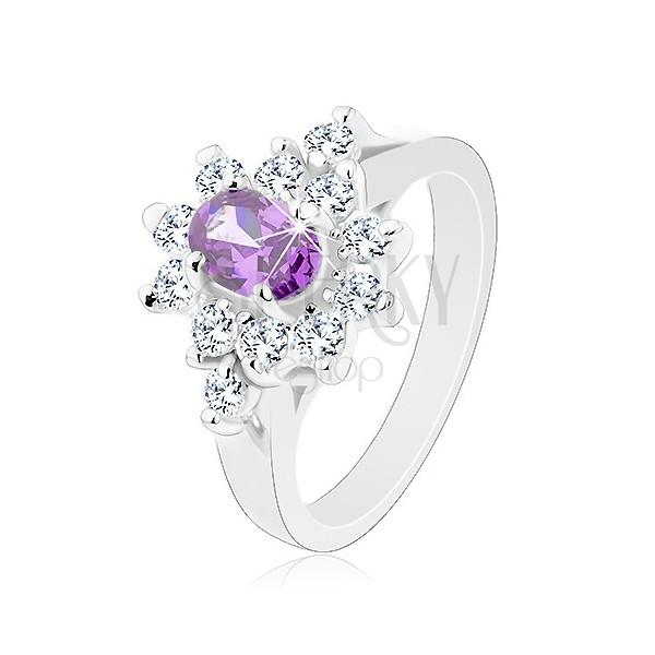 Prsten ve stříbrném odstínu, fialový oválný zirkon s čirou obrubou