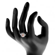 Prsten stříbrné barvy, světle oranžový ovál s čirým zirkonovým lemem
