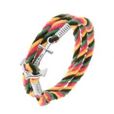 Čtyřbarevný pletený náramek na obtočení okolo ruky, lodní kotva s nápisem Z41.19