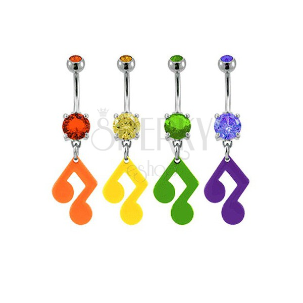Piercing do pupíku - hudební nota se zirkonem v různých barvách