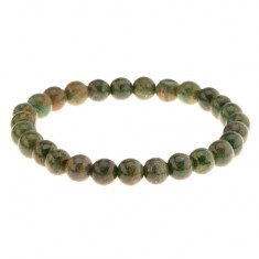 Pružný náramek na ruku, korálky v zelených odstínech, gumička