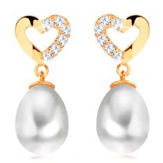 Náušnice ze žlutého 14K zlata - kontura srdce se zirkonovou polovinou, oválná perla GG105.07
