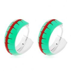 Náušnice ze stříbra 925, kroužky se zelenou glazurou a červeným pruhem, 14 mm
