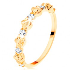 Prsten ze žlutého 14K zlata - střídající se růžičky a kulaté čiré zirkony