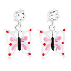 Stříbrné 925 náušnice, glazovaný motýl s bílo-růžovými křídly, krystal