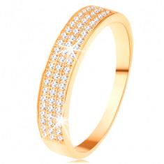 Zlatý prsten 585 - širší pás vykládaný třemi liniemi čirých zirkonků
