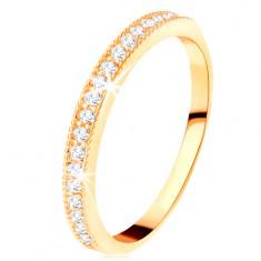 Zlatý prsten 585 - čirý zirkonový pás s vyvýšeným vroubkovaným lemem