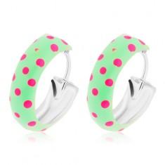 Kruhové stříbrné 925 náušnice, zelená glazura s růžovými puntíky, 14 mm
