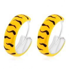 Stříbrné náušnice 925 - kroužky, glazura ve žluté barvě s černými vlnkami, 14 mm