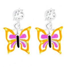 Puzetové náušnice ze stříbra 925, motýl se žlutofialovými křídly, glazura