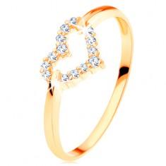 Prsten ve žlutém 14K zlatě - třpytivý obrys souměrného srdíčka