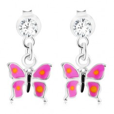Stříbrné 925 náušnice, visící motýlek s fialovými křídly, krystal od Swarovského