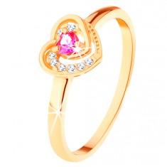 Zlatý prsten 585 - růžové zirkonové srdíčko ve dvojitém obrysu