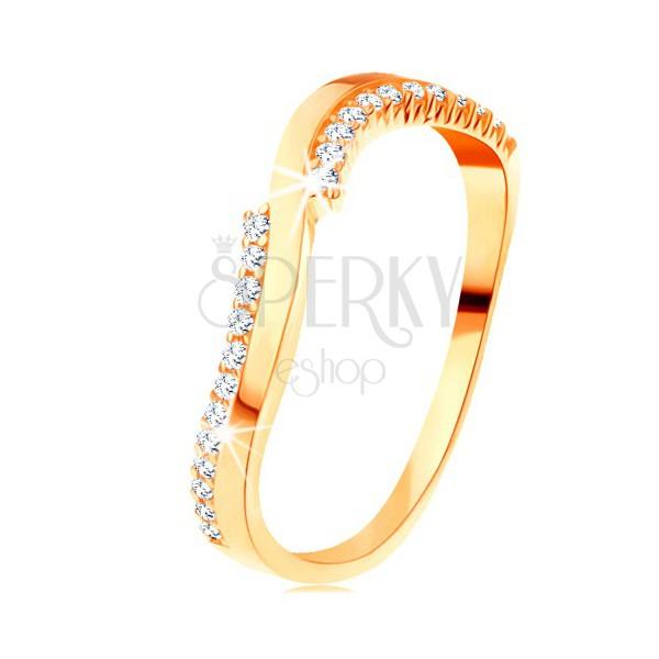 Prsten ve žlutém 14K zlatě - jedna hladká a dvě zirkonové vlnky