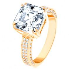 Luxusní zlatý prsten 585 - velký broušený zirkon v ozdobném kotlíku, zirkonové linie