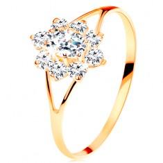 Prsten ze žlutého 14K zlata - čirý zirkonový kvítek, rozdělená ramena