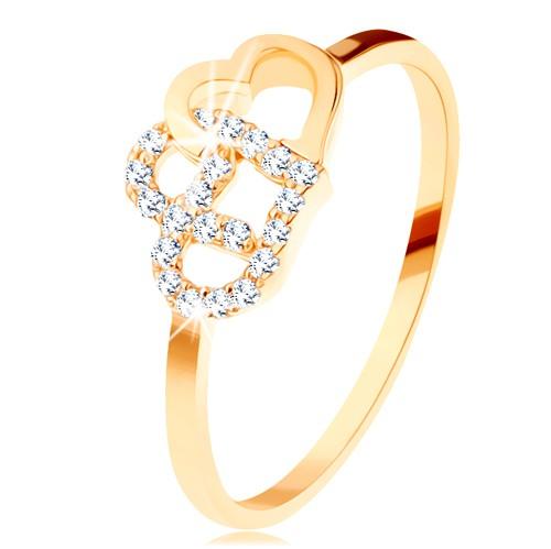 Levně Prsten ve žlutém 14K zlatě - dva propojené obrysy srdcí, úzká ramena - Velikost: 49