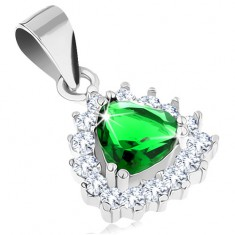 Přívěsek ze stříbra 925 se zeleným zirkonovým trojúhelníkem, blýskavá obruba
