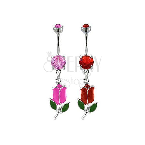 Piercing do pupíku barevný tulipán