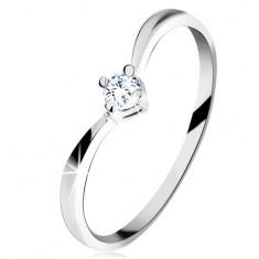 Zlatý prsten 585 - lesklá zahnutá ramena, blýskavý broušený diamant čiré barvy