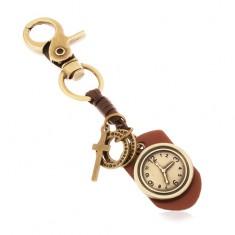 Klíčenka v mosazném odstínu, syntetická kůže s hodinami, kruhy a kříž Z36.20