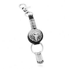 Patinovaný přívěsek na klíče, symbol indiánské čelenky s lebkou, kruhy Z37.13