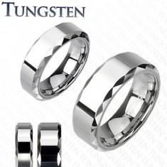 Prsten z wolframu, stříbrný odstín, zkosené vybroušené okraje, 6 mm