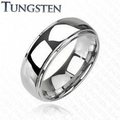 Wolframový prsten s vyvýšeným středem, zrcadlový lesk, 8 mm