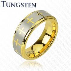 Wolframový prsten ve zlatém odstínu, křížky a pás stříbrné barvy, 8 mm