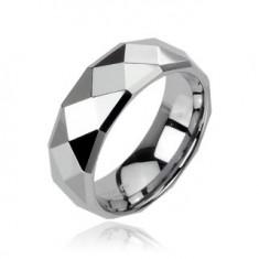 Prsten z wolframu s lesklým broušeným povrchem stříbrné barvy, 8 mm