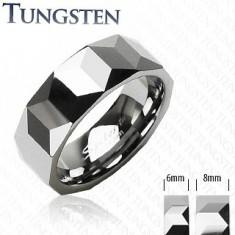 Prsten z wolframu stříbrné barvy, geometricky broušený povrch, 6 mm