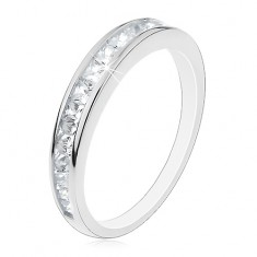 Stříbrný prsten 925, lesklá ramena, vodorovná linie čirých zirkonů