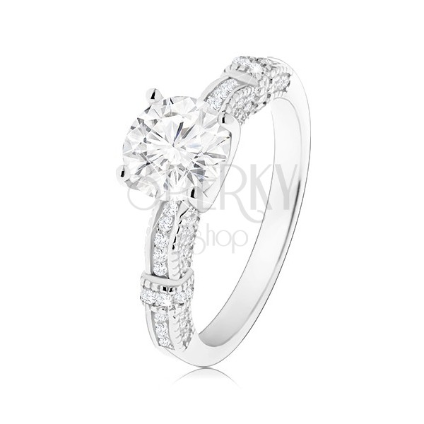 Zásnubní prsten, stříbro 925, zdobená ramena, velký kulatý zirkon čiré barvy