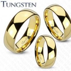 Prsten z wolframu zlaté barvy, zaoblený a hladký povrch, zrcadlový lesk, 8 mm