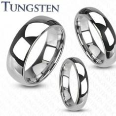 Wolframový prsten ve stříbrném odstínu, hladký lesklý povrch, 6 mm