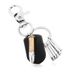 Patinovaný přívěsek na klíče v lesklém šedém provedení, dvoubarevná nábojnice