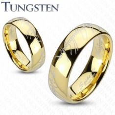 Wolframový prsten ve zlatém odstínu, motiv písma z Pána prstenů, 8 mm