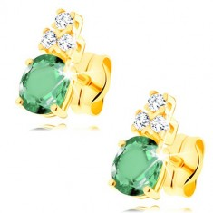 Náušnice ve žlutém 14K zlatě - oválný zelený smaragd, tři čiré zirkonky GG145.06 Šperky eshop