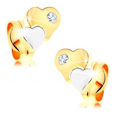 Náušnice ze 14K zlata - dvoubarevná lesklá srdíčka, čirý zirkonek GG146.06