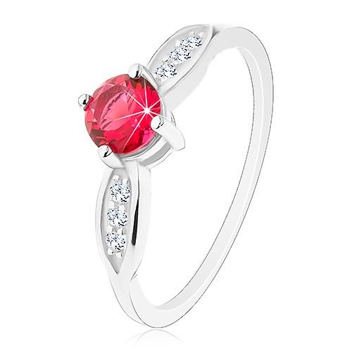 Stříbrný prsten 925, kulatý růžový zirkon, blýskavé lístky po stranách - Velikost: 58