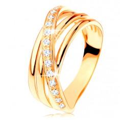Prsten ze žlutého 14K zlata - tři hladké pásy, šikmá zirkonová linie