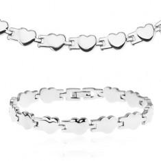 Set z chirurgické oceli - náhrdelník a náramek, lesklá pospojovaná srdíčka