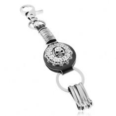 Patinovaný přívěsek na klíče, kruh s lebkami a římskými číslicemi, kruhy
