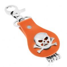 Přívěsek na klíče z oceli a hnědé kůže, lebka s překříženými kostmi
